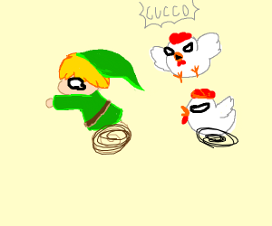 Link from Zelda scared by chickens