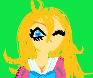 Pink blonde anime girl