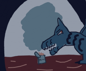 dragon eating beans