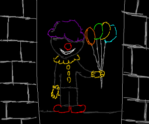 a purple haired clown emerges from shadows