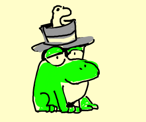 Toad with a worm coming out of his hat