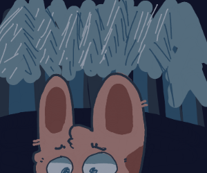 brown bunny in a dark forest