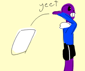 """Guy """"yeets"""" a piece of paper behind him"""