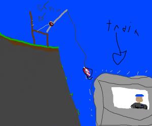 Chair fishing for train