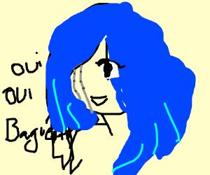 Blue hair anime robot girl speaks french