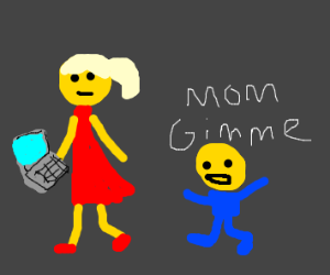 Emoji Kid wanting a laptop from mom