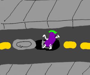 Eggplant down a man hole