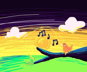 Cute birdy singing at dawn