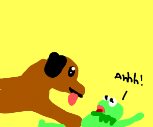 Dog attacks Kermit the frog