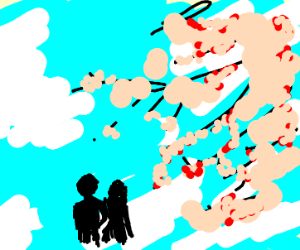 A happy couple under sakura tree