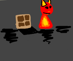 Fire demon comes out of trap door