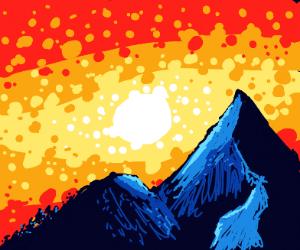 Fiery mountain sunset