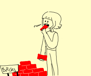 Girl eating bricks
