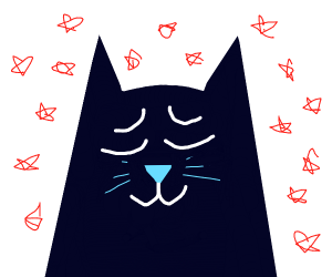 black cat with uwu face