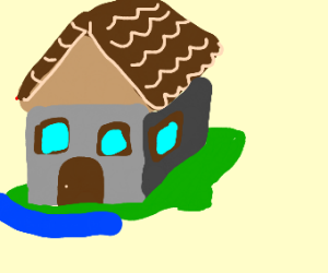 a house reaching into the sea