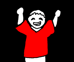 Happy person in a red shirt