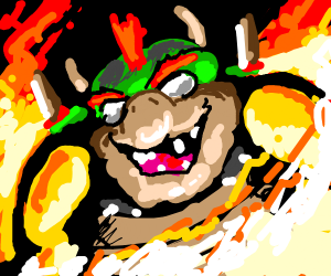 Bowser by a fire
