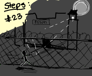 step 23: run near prison