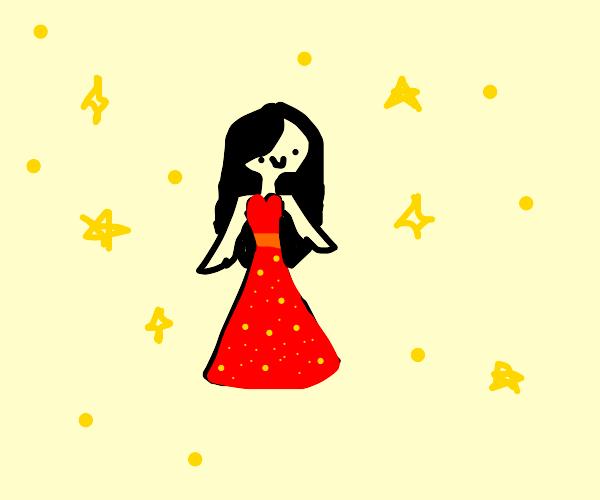 sim girl in a fancy red dress