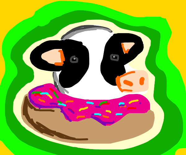 Cow with a donut head