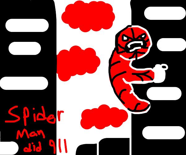 inverted Spiderman climbs World Trade Center