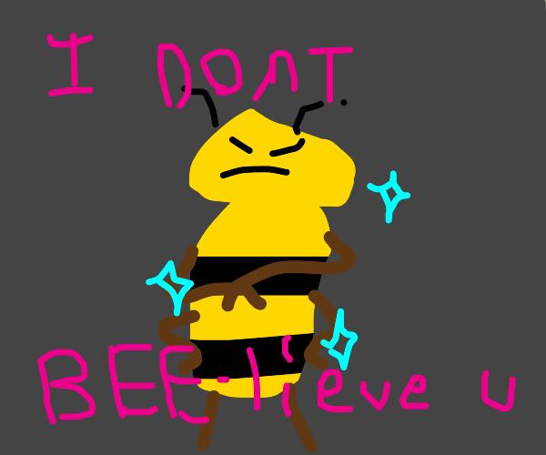 A glittering bee humanoid in dis-bee-lief.