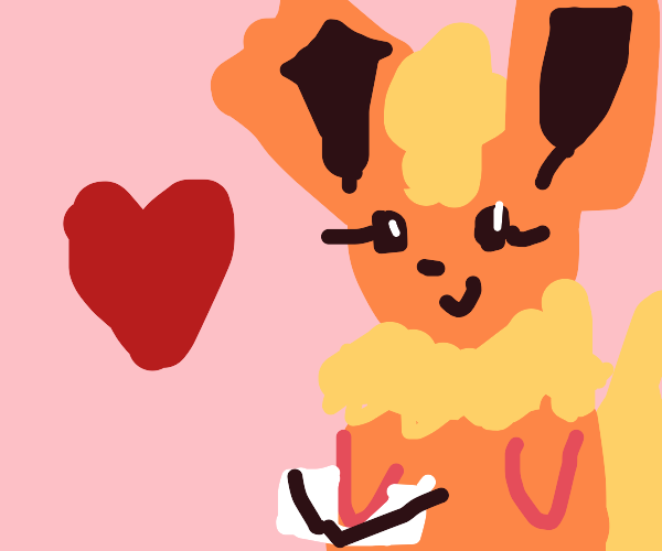 cute af jolteon w/ chimchar holdin a envelope