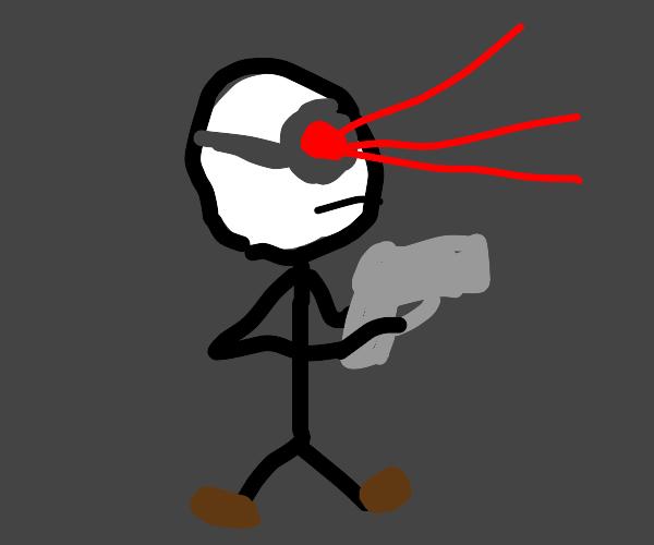 Night Vision Stickman with a gun