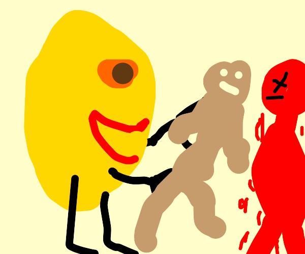 Lemon man takes boyfriends skin