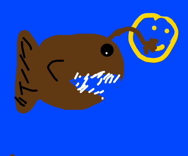 Angler fish paints a smiley face with its bul
