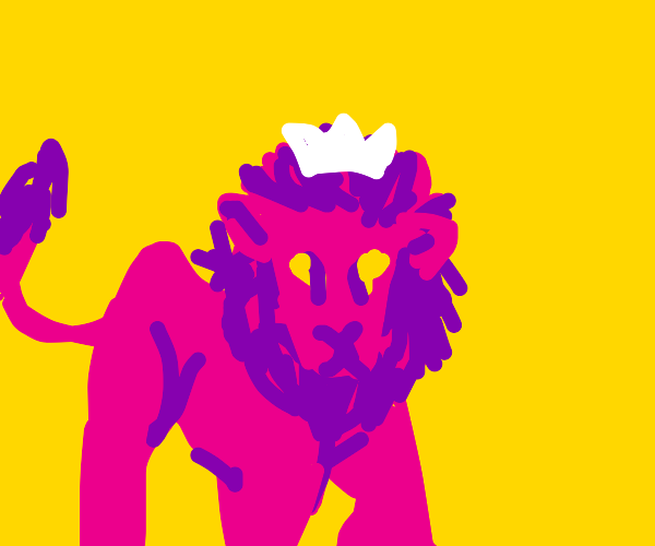 Pink Lion wearing White Crown
