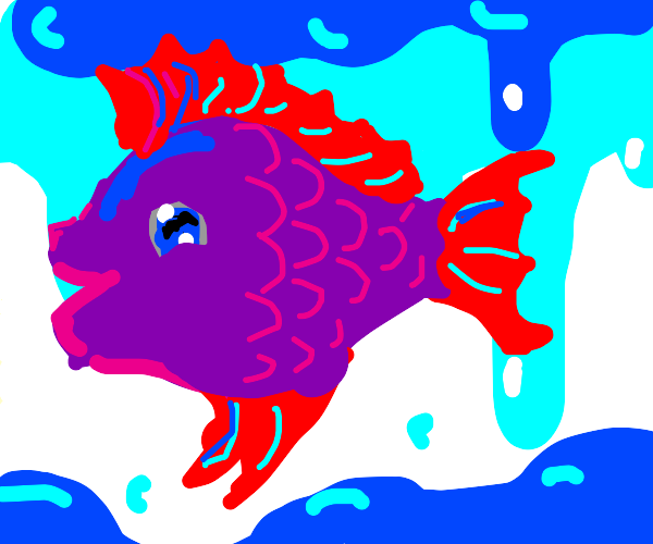 A beautiful purple fish with red frills