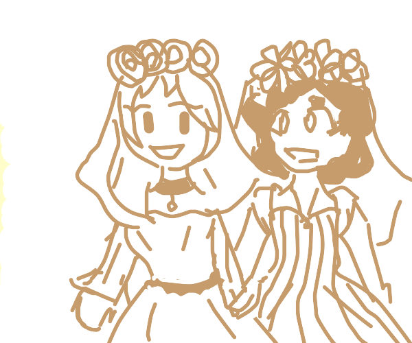 Two girls exited for a wedding