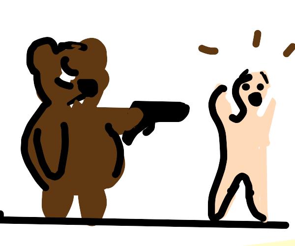 bear is holding man at gunpoint