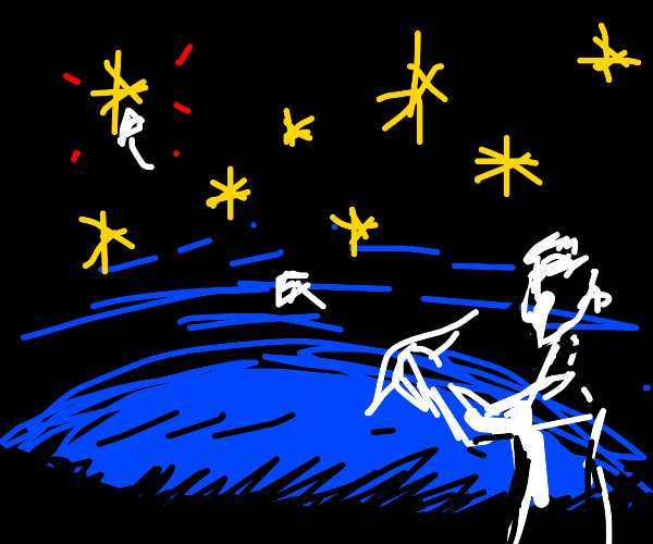 man shooting stars