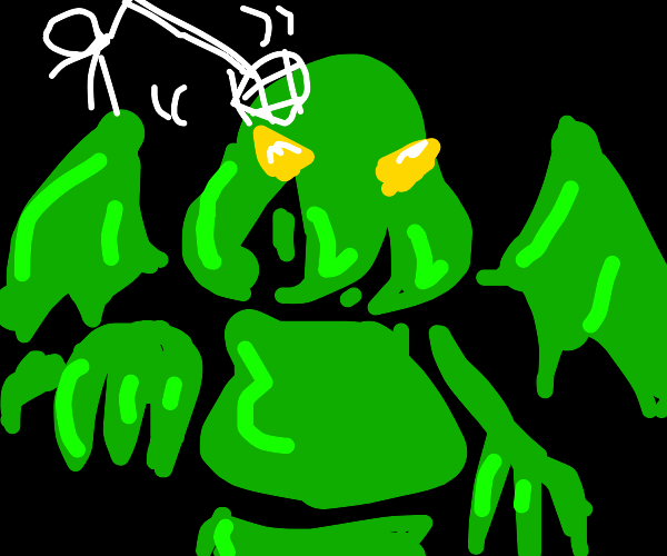 Cthulhu getting hit by a net
