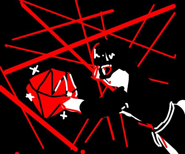 Spy reaching for gem through lasers