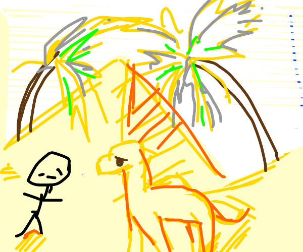 A stickman and a camel in Egypt.