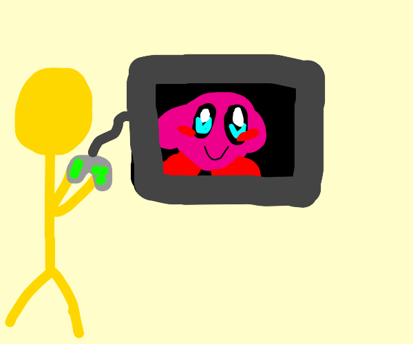 yellow kid plays a kirby game with controller