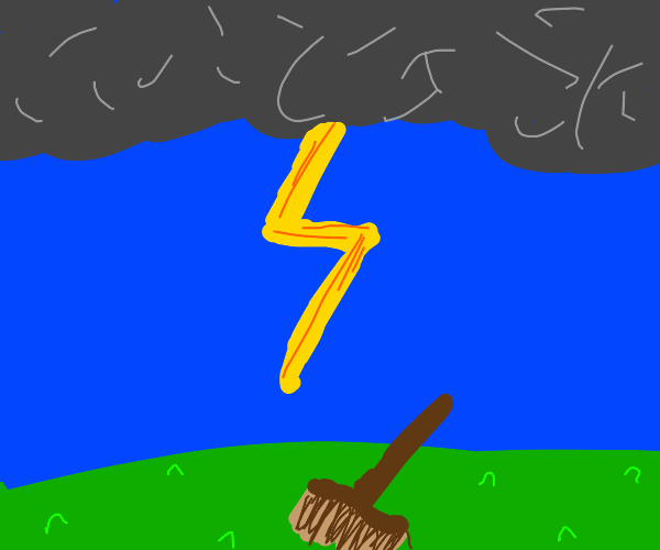 A broom in a thunderstorm