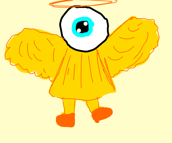 A pure yellow angel with an eye for a head