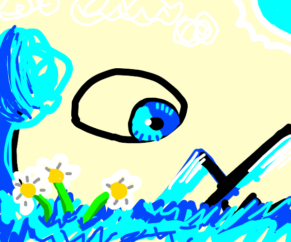 Blue Eye in a Blue World with Daisies