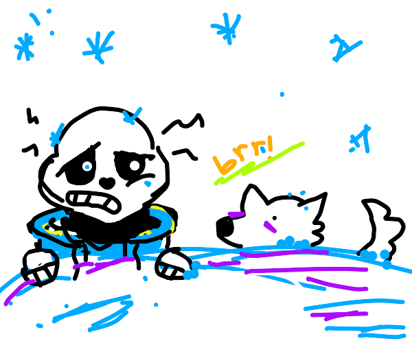 sans and a dog are cold