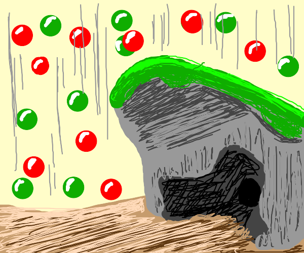 Raining rubies and emeralds near a cave