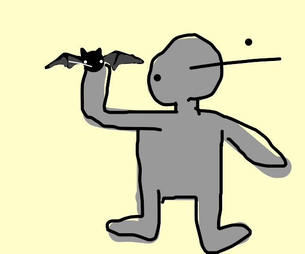 Grey boy holds bat