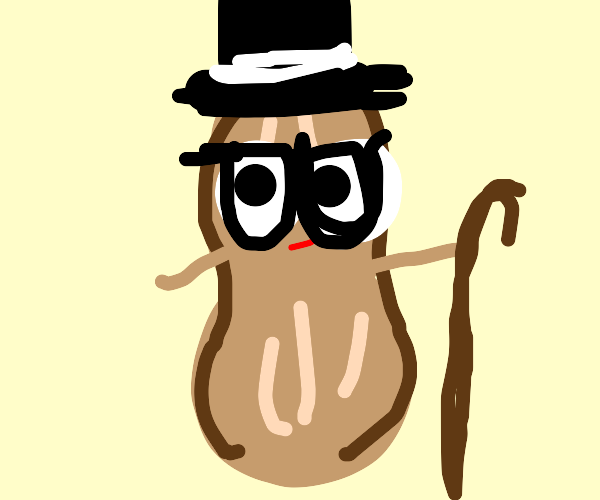 Peanut with glasses, top hat, and cane.