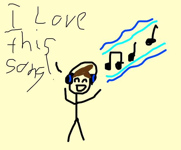Stickfigure wearing headphones