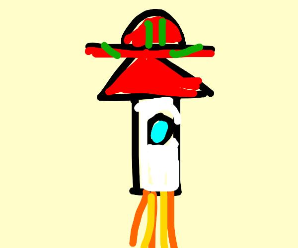 Rocket wearing a Hat