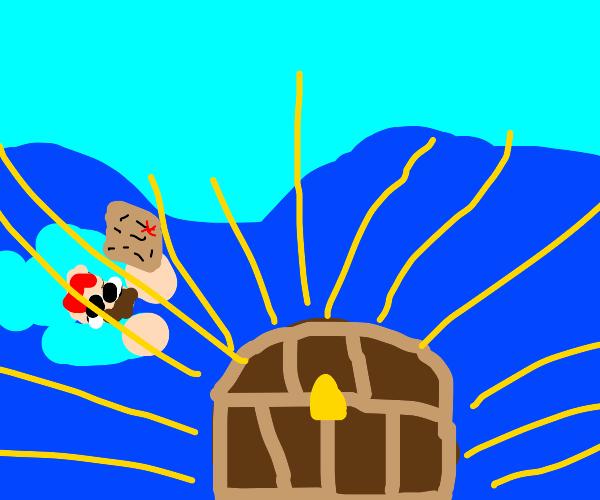 Steve finds underwater chest