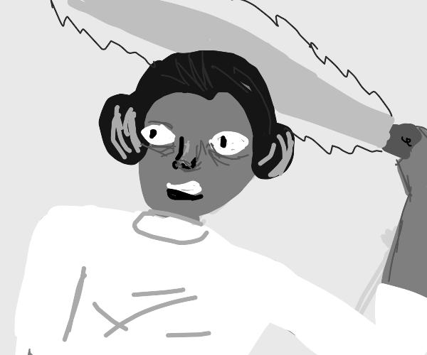 Leia Organa with a lightsaber